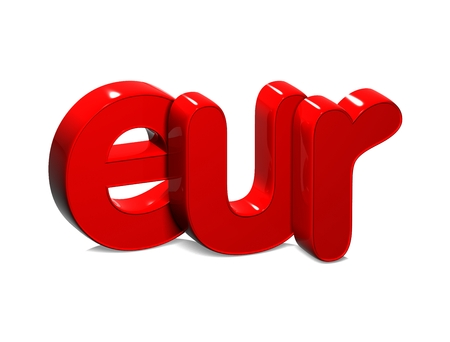 3D Currency EUR over white background.