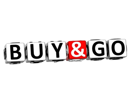 go to store: 3D Offers and Updates block text on white background. Stock Photo