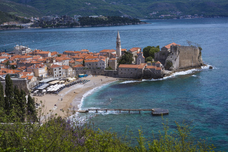 Sew view to the Old Town od Budva in Montenegro Editorial