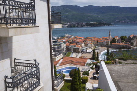 budva: Sew view to the Old Town od Budva in Montenegro Editorial