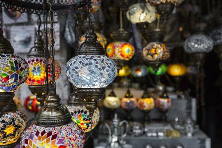 Colorful retro arabian lanterns in Mostar, Bosnia and Herzegovina