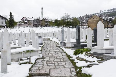 hercegovina: A muslim cemetery in a beautiful winter day in Sarajevo, Bosnia and Herzegovina.