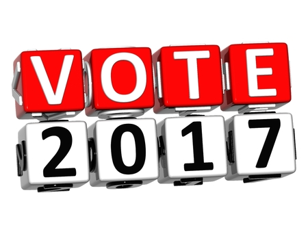 3D Block Red Text VOTE 2017 over white background.