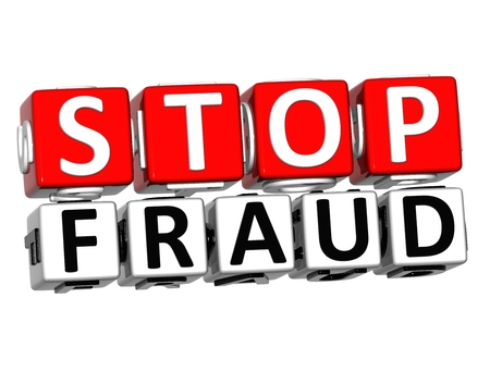 stop piracy: 3D Block Red Text STOP FRAUD over white background. Stock Photo