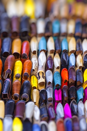 Colourful Moroccan slippers, Marrakesh Stock Photo
