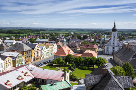 JAVORNIK - CZECH REPUBLIC - JUNE 07, 2017: Summer View of Javornik Town from Jansky Hill (Jansky Vrch) Castle, Olomouc Region, Czech Republic. Editorial