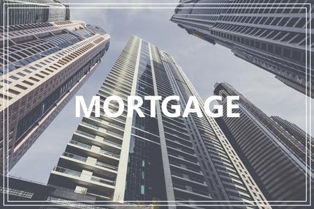morgage: Word Morgage over modern building.
