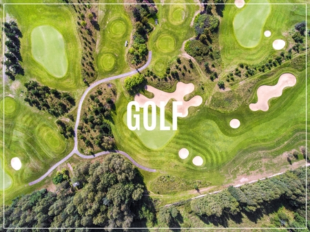 Word Golf. Aerial view over golf field. Summer time. Stok Fotoğraf
