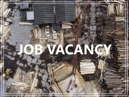 unoccupied: Word Job Vacancy over industrial place from above. Stock Photo
