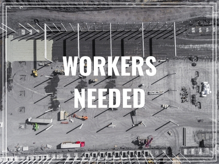 concrete commercial block: Word Workers Needed over industrial place from above.