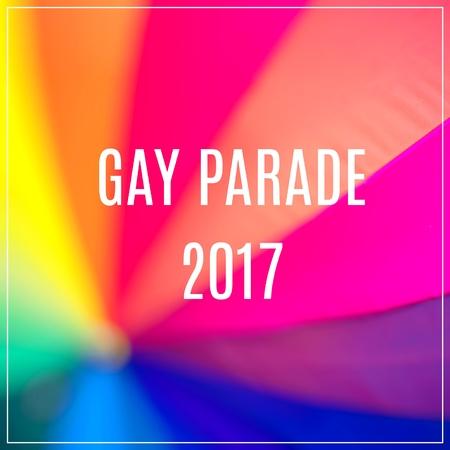 Gay Parade 2017. Rainbow coloured umbrella