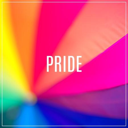Word Pride.Rainbow coloured umbrella.