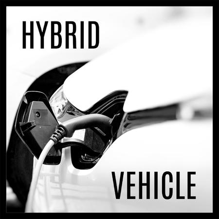 Hybrid Car. Vehicle clean Energy. Start Engine. Zdjęcie Seryjne