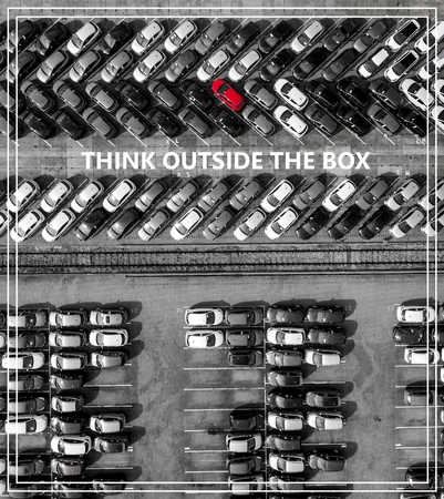 outsiders: Think outside the box. Many cars one red from above.