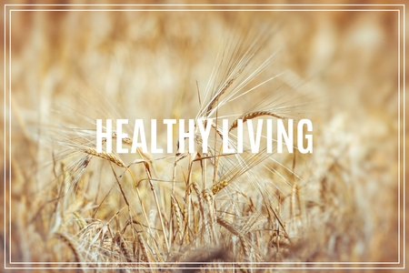 Word Healthy Living. Gold wheat field.