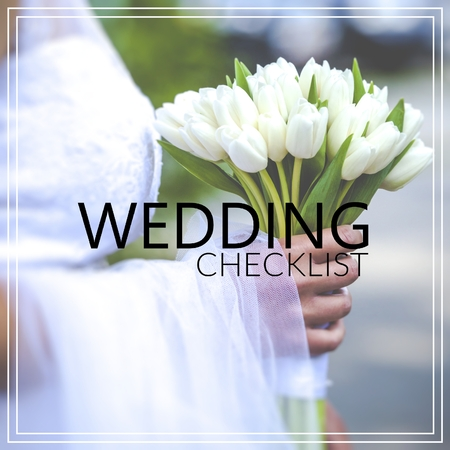 Wedding Checklist. Beautiful wedding bouquet in hands of the bride Stock Photo