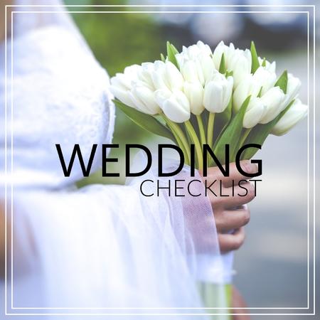 Wedding Checklist. Beautiful wedding bouquet in hands of the bride Zdjęcie Seryjne