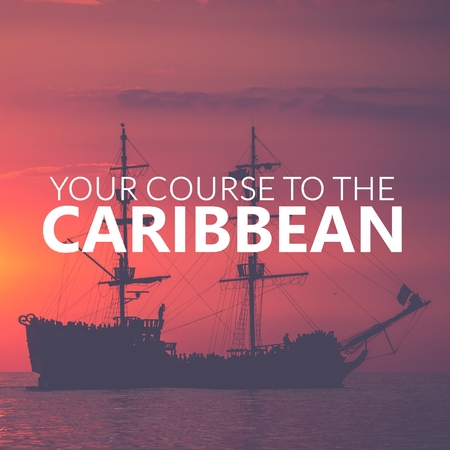 Your Course to Caribbean. Pirate Boat on the sea at sunset. Red sky. Zdjęcie Seryjne