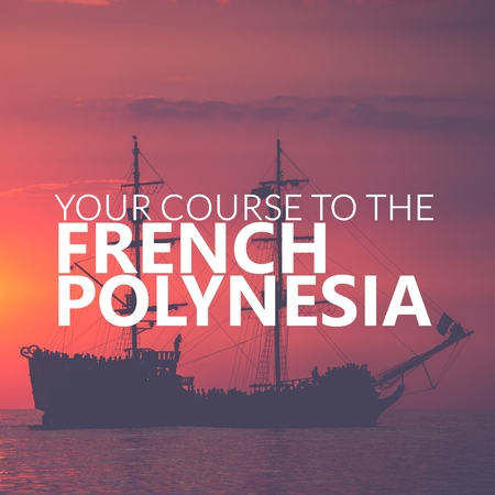 Your Course to French Polynesia. Pirate Boat on the sea at sunset. Red sky. Zdjęcie Seryjne
