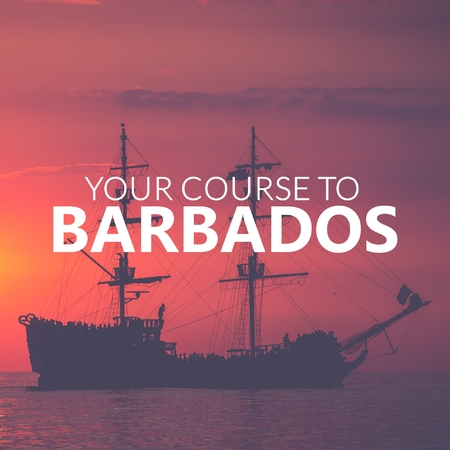 Your Course to Barbados. Pirate Boat on the sea at sunset. Red sky.