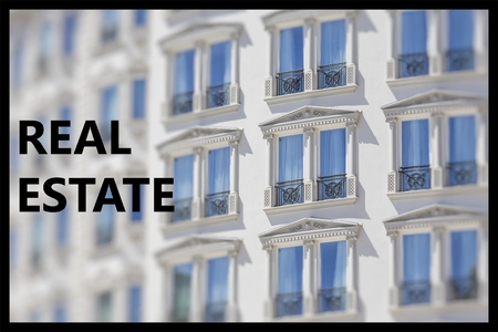 Real Estate. Part of a modern building facade and architectural design in retro style.