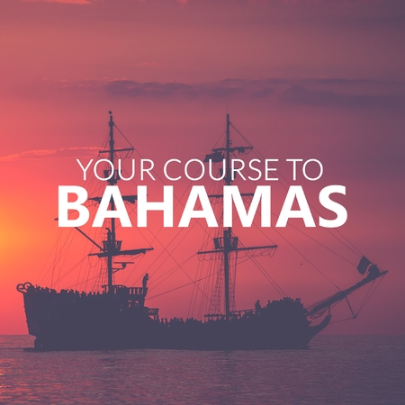 Your Course to Bahamas. Pirate Boat on the sea at sunset. Red sky.