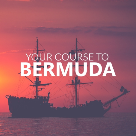 Your Course to Bermuda. Pirate Boat on the sea at sunset. Red sky.