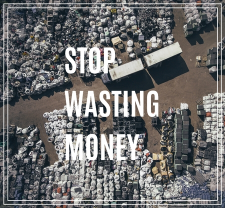 Stop Wasting Money.  Landfill for waste storage. View from above. Zdjęcie Seryjne