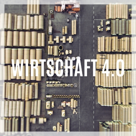 Word Industry 4.0 ( in german language ) over industrial places from above. Zdjęcie Seryjne