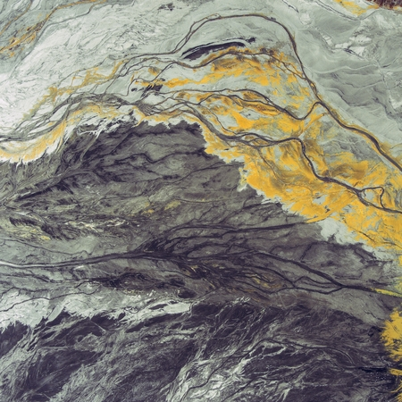 degradation: Degraded landscape in Poland. Destroyed land. View from above. Surrealistic lake. Stock Photo