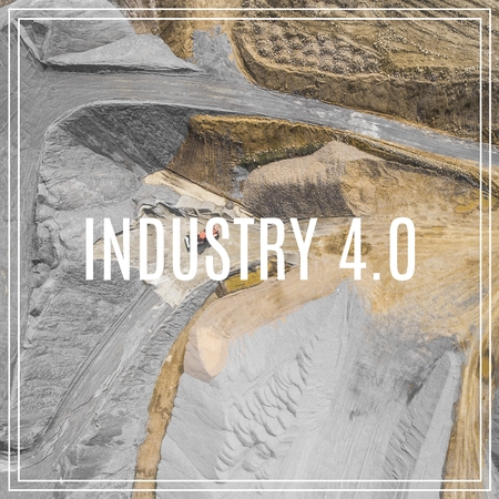 Word Industry 4.0 over industrial places from above.