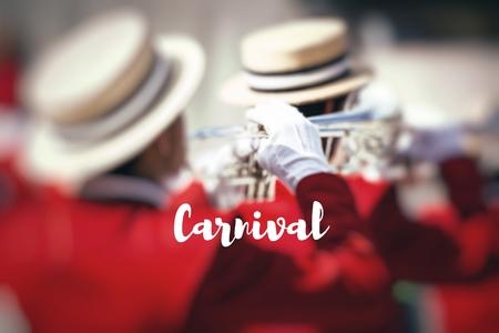 pasadena: Carnival. Brass Band in uniform performing.