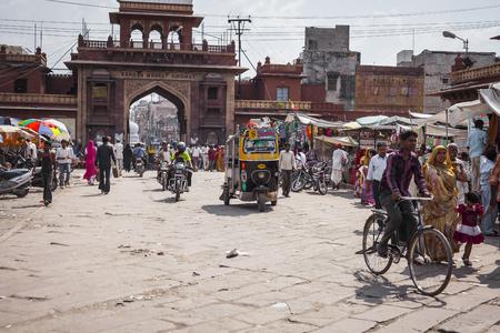 JODHPUR, INDIA - JANUARY 11, 2017: Undefined people at work in street in Jodhpur, India.