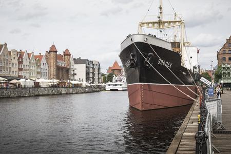 GDANSK, POLAND - AUGUST 04, 2017: SS Soldek ship on Motlawa river in Gdansk, Poland. She was the first ship built in Poland after World War II.