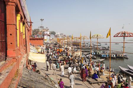 benares: VARANASI, INDIA - JANUARY 25, 2017: Morning view of holy ghats of river Ganges in Varanasi, India.