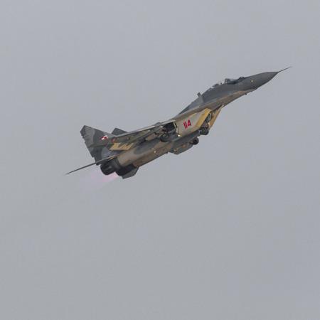 RADOM, POLAND - AUGUST 26:  Polish Air Force, Mig 29 Fulcrum and Extra 330 during Air Show Radom 2017 on August 26, 2017 in Radom, Poland