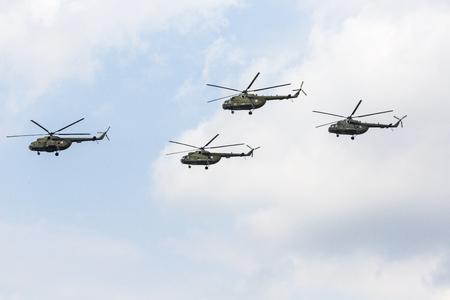 RADOM, POLAND - AUGUST 26, 2017 : W-3 Sokol helicopter during Air Show Radom 2017.