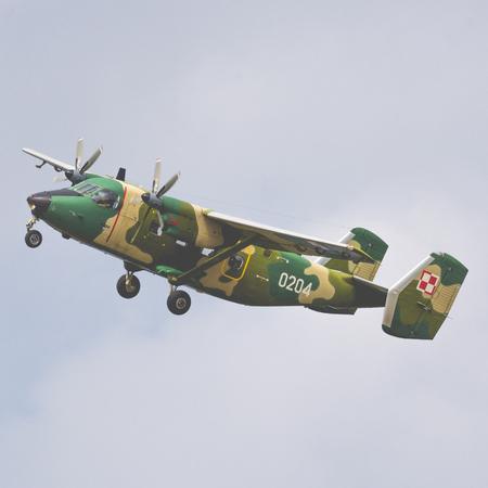 RADOM, POLAND - AUGUST 26, 2017 : Polish M-28Bduring Air Show Radom 2017.