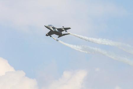 RADOM, POLAND - AUGUST 26, 2017 :Aermacchi M-346 Master during Air Show Radom 2017.