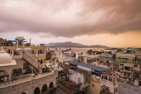 Lake Pichola with City Palace view in Udaipur, Rajasthan, India Stock Photo