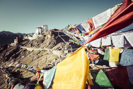 Prayer tibetan flags near the Namgyal Tsemo Monastery in Leh, Ladakh Stock Photo