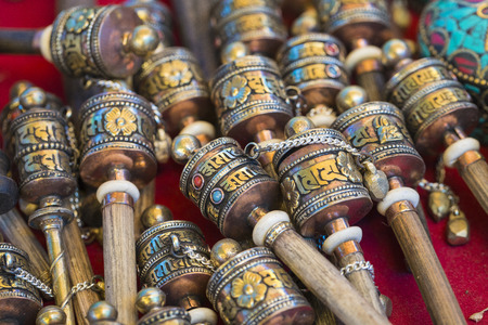 Tibetan praying objects for sale at a souvenir shop in Ladakh, India.