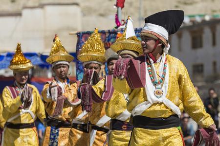 LEH, INDIA - SEPTEMBER 20, 2017: Unidentified artists in Ladakhi costumes at the Ladakh Festival on September 20, 2017, Leh, India. Editorial