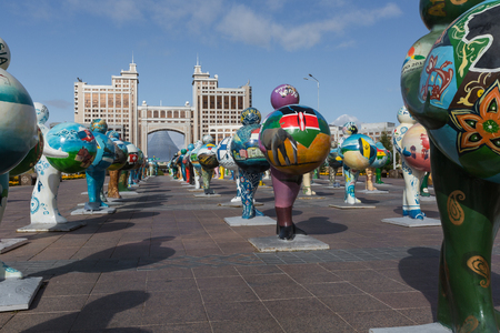 ASTANA, KAZAKHSTAN - SEPTEMBER 13, 2017: Art installation in the form of sculptures symbolizing the a countries of the world - center of capital of Kazakhstan - Astana.
