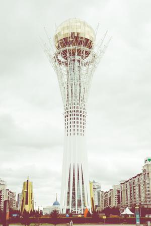 ASTANA, KAZAKHSTAN - SEPTEMBER 13, 2017 : Bayterek tower is the main symbol of Kazakhstan in Astana city, Kazakhstan.
