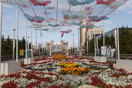 ASTANA, KAZAKHSTAN - SEPTEMBER 13, 2017: Modern buildings - center of capital of Kazakhstan - Astana.