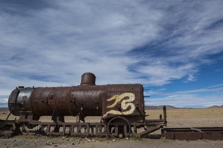 The old train at the train cemetery near Salar de Uyuni, Bolivia