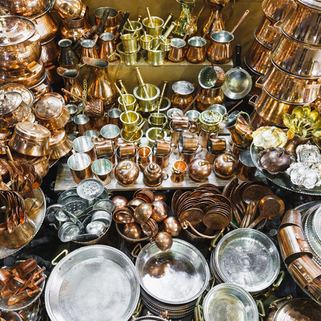 Traditional iranian market (Bazaar) metal souvenires. Isfahan, Iran.