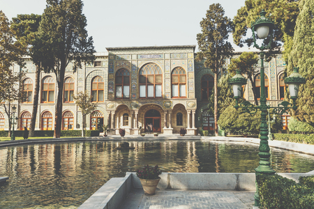 View of Salam Hall building, part of Golestan Palace in Tehran, capital of Iran