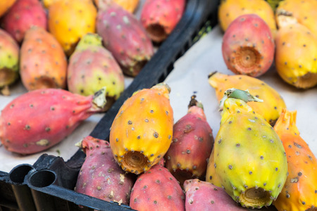 Prickly pears of the variety called bastardoni on the table of a street seller in Catania, Italy.